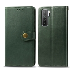 For Huawei P40 Lite 5G / Nova 7 SE Retro Solid Color Leather Buckle Phone Case with Photo Frame & Card Slot & Wallet & Bracket Function(Green)