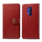 For OnePlus 8 Pro Retro Solid Color Leather Buckle Phone Case with Photo Frame & Card Slot & Wallet & Bracket Function(Red)