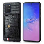 For Galaxy S10 Lite & A91  Crocodile Pattern PU+TPU+PVC Shatter-resistant Mobile Phone Case with Magnetic Invisible Holder & Holder & Card Slots(Black)