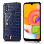 For Galaxy A01 Crocodile Pattern PU+TPU+PVC Shatter-resistant Mobile Phone Case with Magnetic Invisible Holder & Holder & Card Slots(Sapphire Blue)