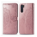 For OPPO F15 & A91 Halfway Mandala Embossing Pattern Horizontal Flip Leather Case with Holder & Card Slots & Wallet & Photo Frame & Lanyard(Rose Gold)