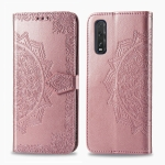 For OPPO Find X2 Halfway Mandala Embossing Pattern Horizontal Flip Leather Case with Holder & Card Slots & Wallet & Photo Frame & Lanyard(Rose Gold)