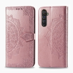 For Realme X50 Pro Halfway Mandala Embossing Pattern Horizontal Flip Leather Case with Holder & Card Slots & Wallet & Photo Frame & Lanyard(Rose Gold)