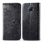 For Xiaomi Redmi K30 Pro Halfway Mandala Embossing Pattern Horizontal Flip Leather Case with Holder & Card Slots & Wallet & Photo Frame & Lanyard(Black)