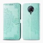 For Xiaomi Redmi K30 Pro Halfway Mandala Embossing Pattern Horizontal Flip Leather Case with Holder & Card Slots & Wallet & Photo Frame & Lanyard(Green)