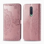 For OnePlus 8 Halfway Mandala Embossing Pattern Horizontal Flip Leather Case with Holder & Card Slots & Wallet & Photo Frame & Lanyard(Rose Gold)
