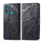For Moto G8 Power Lite Butterfly Love Flower Embossed Horizontal Flip Leather Case with Bracket / Card Slot / Wallet / Lanyard(Black)