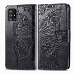 For Galaxy A51 5G Butterfly Love Flower Embossed Horizontal Flip Leather Case with Bracket / Card Slot / Wallet / Lanyard(Black)