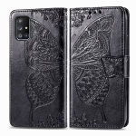 For Galaxy A71 5G Butterfly Love Flower Embossed Horizontal Flip Leather Case with Bracket / Card Slot / Wallet / Lanyard(Black)