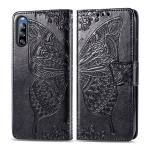 For Sony Xperia L4 Butterfly Love Flower Embossed Horizontal Flip Leather Case with Bracket / Card Slot / Wallet / Lanyard(Black)