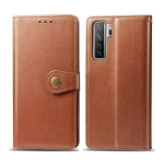 For Huawei Nova 7 SE/P40 Lite 5G Retro Solid Color Leather Buckle Phone Case with Lanyard & Photo Frame & Card Slot & Wallet & Stand Function(Brown)