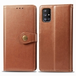 For Galaxy A51 5G Retro Solid Color Leather Buckle Phone Case with Lanyard & Photo Frame & Card Slot & Wallet & Stand Function(Brown)