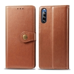 For Sony Xperia L4 Retro Solid Color Leather Buckle Phone Case with Lanyard & Photo Frame & Card Slot & Wallet & Stand Function(Brown)