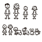 10 PCS Family Member Pattern Vinyl Decorative Auto Decal Cartoon Car Sticker (Black)