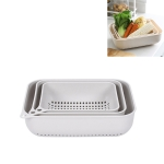 3 in 1 Household Creative Rectangular Kitchen Plastic Fruit and Vegetable Storage Basket Drain Basket Set(Gray)