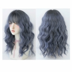 Women's Wool Long Hair With Bangs Natural Fluffy Wig, Color:Haze Blue (Black On Top ) 54CM