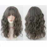 Women's Wool Long Hair With Bangs Natural Fluffy Wig, Color:Cold Brown 54CM