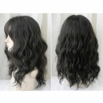 Women's Wool Long Hair With Bangs Natural Fluffy Wig, Color:Black Brown 54CM