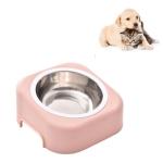 Pet Stainless Steel Bowl Dog Cat Slope Food Bowl(Pink)