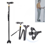Aluminum Alloy Folding Lighted Crutches Elderly Telescopic Non-slip Four-foot Cane Crutches