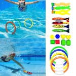 Children Swimming Pool Treasure Hunting Diving Torpedo Ring Diamond Set Toy
