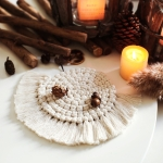 Hand-woven Cotton Linen Semicircle Placemat Simple Coaster Thickening Insulation Pads, Size:14cm