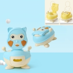 Cute Cartoon Child Baby Bottom Non-slip Soft and Hard Toilet, Style:PU Soft Pad(Sky Blue)
