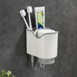 Couple Toothbrush Cup Wall-mounted Toothbrush Storage Rack Shelf Wash Set(Grey)