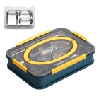 Creative Microwave Student Lunch Box Bento Box with Cutlery, Style:Three Grid(Navy Blue)