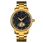 SKMEI 9219 Men Dragon Totem Hollow Automatic Mechanical Watch Student Steel Band Watch, Colour:Gold Shell Black Face