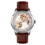 SKMEI 9223 Men Automatic Hollow Through Bottom Watch Student Leather Watch Belt Mechanical Watch, Colour:Silver Shell Silver Face