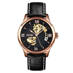 SKMEI 9223 Men Automatic Hollow Through Bottom Watch Student Leather Watch Belt Mechanical Watch, Colour:Rose Gold Shell Black Face