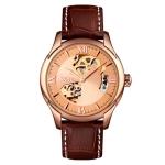 SKMEI 9223 Men Automatic Hollow Through Bottom Watch Student Leather Watch Belt Mechanical Watch, Colour:Rose Gold Shell Gold Face