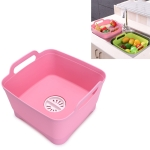 Multifunctional Mobile Sink Kitchen Plastic Vegetable Washing Basket Fruit And Vegetable Storage Drain Basket(Pink)