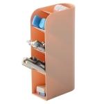 Multifunctional Home Furnishing Vertical Desktop Plastic Makeup Storage Box Student Stationery Pen Holder(Pink)