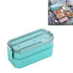 Double-layer Lunch Box Plastic Microwaveable Student Lunch Box Cutlery set(Green)