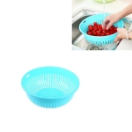 10 PCS Round Hollow Plastic Drain Basket Kitchen Fruit and Vegetable Storage Basket, Size:S(Blue)