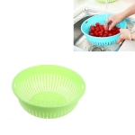 10 PCS Round Hollow Plastic Drain Basket Kitchen Fruit and Vegetable Storage Basket, Size:M(Green)