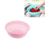 10 PCS Round Hollow Plastic Drain Basket Kitchen Fruit and Vegetable Storage Basket, Size:L(Pink)