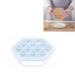 Home Creative DIY Ice Grid Mould Hexagonal Homemade Ice Mold With Tray Ice Cube Ice Cream Ice Box(Blue)