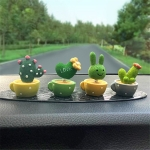 4 In 1 Cute Animal Group Cactus Small Potted Spring Car Decoration, Size:L, Color:Cactus