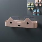 10 PCS Bathroom Slippers Rack Wall Hanging Drain Slippers Shelf(Pink)