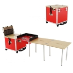 Outdoor Movable Kitchen Camping Portable Folding Table Stove Self-driving Picnic Equipment, Color:Red