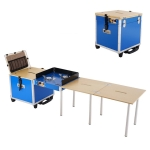 Outdoor Movable Kitchen Camping Portable Folding Table Stove Self-driving Picnic Equipment, Color:Blue