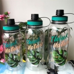 2 PCS Plastic Cup Space Cup Large Capacity Sports Bottle Outdoor Handy Cup, Capacity:2000ML