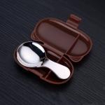 SSGP Stainless Steel Short Handle Spoon Children Creative Portable Tableware Set(Brown)