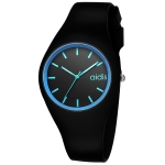 addies MY-1467 Silicone Jelly Couple Watch(Black Blue)