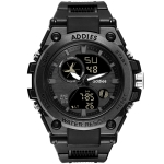 addies MY-1818 Luminous Three-window LED Outdoor Sports Multi-function Electronic Watch for Men, Support Calendar / Alarm Clock / Timer(Black)