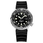 addies MY-H5 Waterproof Luminous Automatic Mechanical Watch Silicone Strap Watch for Men, Waterproof Depth: 300m(Black)