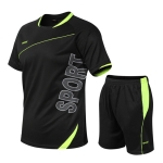 Men Loose Leisure Sports Fitness Suit Quick-drying Clothes (Color:Black Size:XXL)